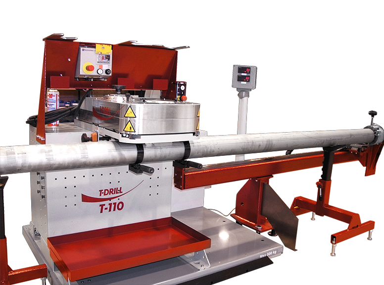 T-DRILL T-110 collaring machine with tube measuring table