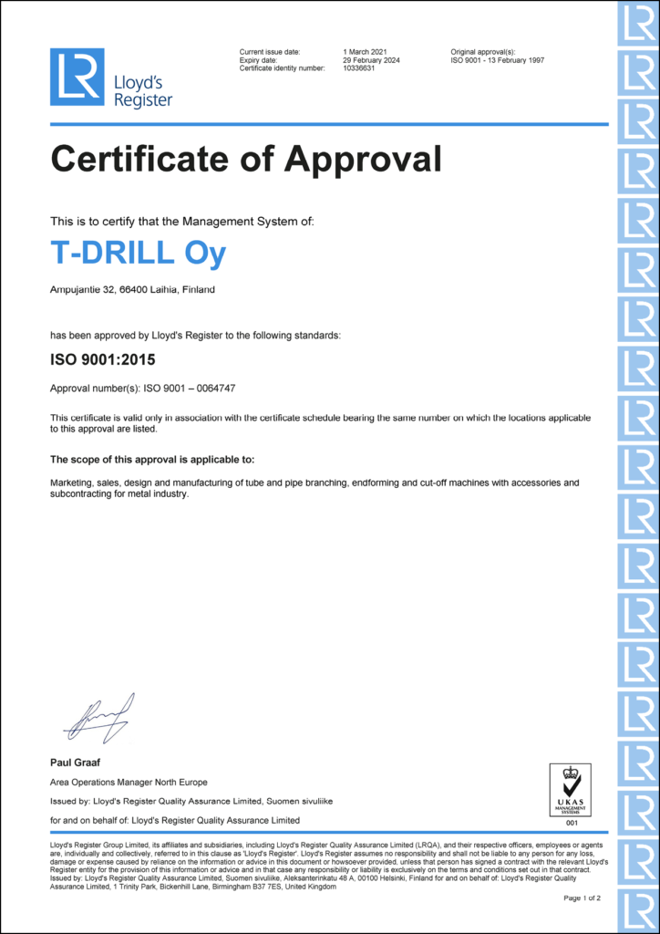 T-DRILL Certificate of Approval for Management System ISO 9001:2015