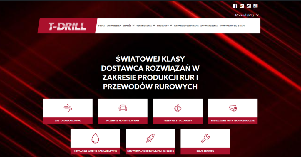 T-DRILL website available in Polish language